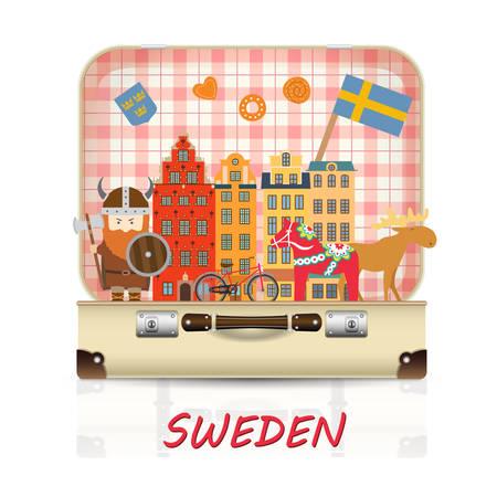 Sweden Landmark Global Travel And Journey Infographic luggage with symbols. Vector/illustration.