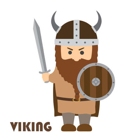 Angry cartoon viking with beard in helmet with horns. Vector illustration