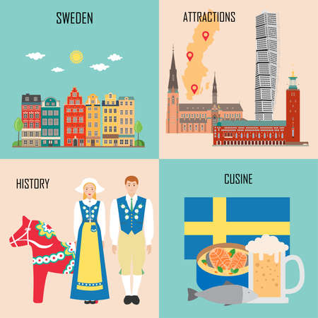 Sweden set with traditional cuisine, history and national attractions backgrounds. Vector illustration