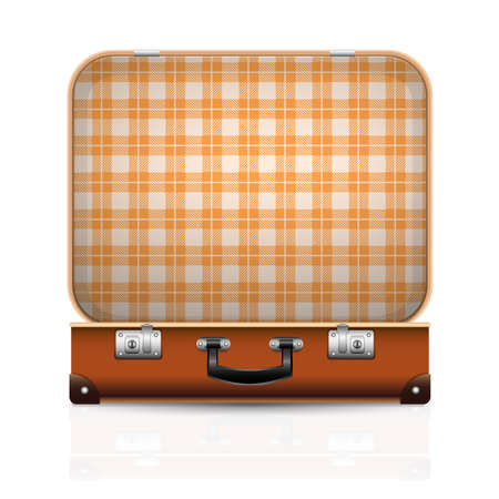Open old retro vintage suitcase. 3d travel bag realistic icon. Vector illustration