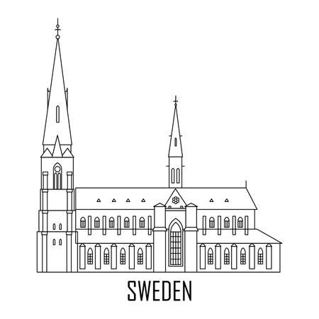 Swedish travel landmark in flat style. Uppsala Cathedral. National attractions. Icon for travel agency. Vector illustration