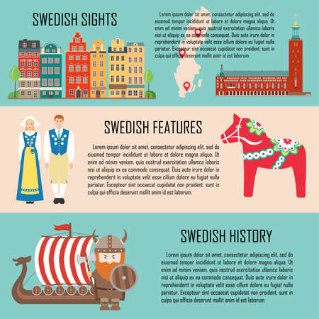 Sweden banner set with sights, features, history. Travel sightseeing collection. Vector illustration Ilustração