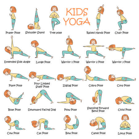 Yoga kids set. Gymnastics for children and healthy lifestyle. Vector illustration.