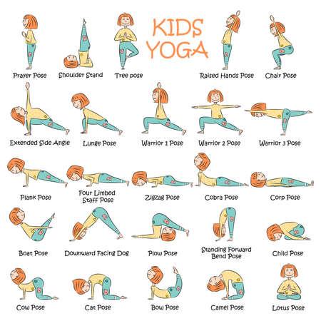 Yoga Kinder eingestellt. Gymnastik für Kinder und gesunde Lebensweise. Vektorillustration.