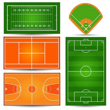 Campo de juego deportivo, cancha. Fútbol, fútbol, tenis, baloncesto, rugby, béisbol. Ilustración vectorial
