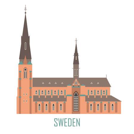Schwedisches Reise-Wahrzeichen im flachen Stil. Uppsala Kathedrale in Schweden. Nationale Attraktionen. Symbol für Reisebüro. Vektorillustration
