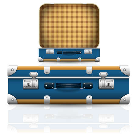 Open and closed old retro vintage suitcase. Set of 3d travel bag realistic icons. Vector illustration Vector Illustration