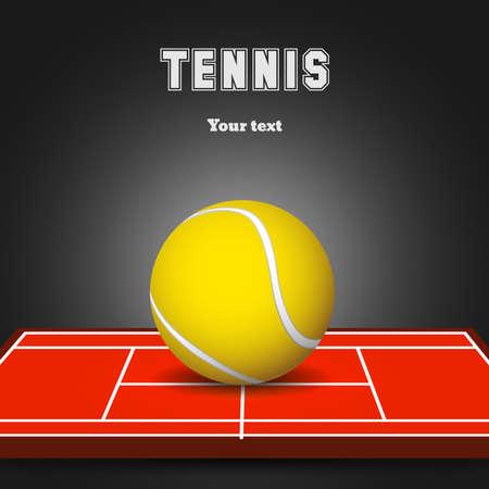 Tennis ball on court. Sport black background. Vector illustration