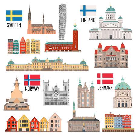 Scandinavian set of landmark icons in flat style: Sweden, Finland, Norway, Denmark. Vector illustration Vector Illustration