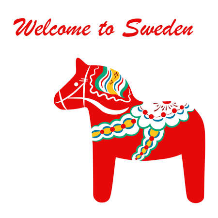 Red dala horse - national symbol of Sweden from Dalarna. Vector illustration