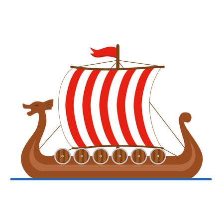 Viking ship drakkar logo. Colored isolated on white background. Vector illustration Vettoriali