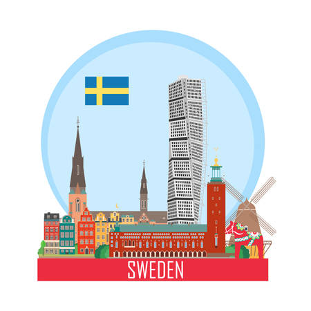 Sweden background with national attractions. Icon for travel agency. Vector illustration. Ilustração