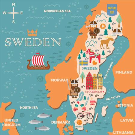 Hand getrokken illustratie van de symbolenkaart van Zweden met toeristenaantrekkelijkheden. Reis concept. Vector illustratie