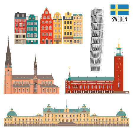 Swedish set of landmark icons in flat style. Travel sightseeing collection. Vector illustration.