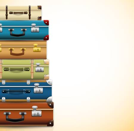 Background with closed old retro vintage suitcases. 3d realistic travel bag. Vector illustration