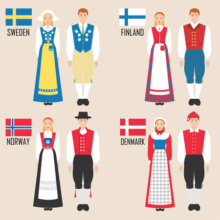 Scandinavian man and woman in traditional costumes: Sweden, Finland, Norway, Denmark. Vector illustration