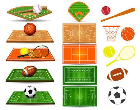 Campos deportivos, balones y elementos de diseño. Fútbol, baloncesto, rugby, béisbol, tenis, fútbol. Ilustración vectorial