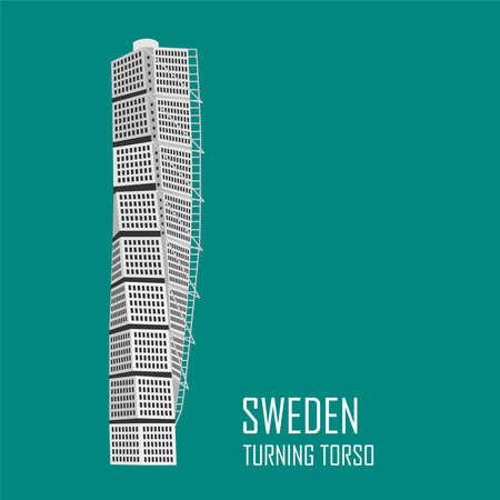 Malmö Turning Torso Building. Attractions nationales. Icône pour agence de voyage. Illustration vectorielle Vecteurs