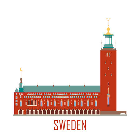 City Hall in Stockholm Sweden. National attractions. Icon for travel agency. Vector illustration. 向量圖像