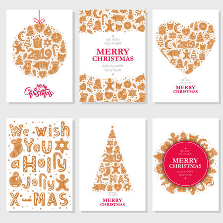 Set of Christmas cards with gingerbread cookies figures of snowman, pig and sock, gingerbread men, stars, letters decorated glaze isolated. Lettering Merry Christmas. Vector illustration