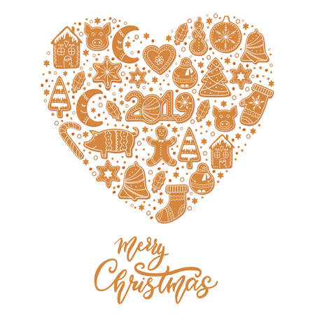 Set of Christmas gingerbread cookies figures of snowman, pig and sock, gingerbread men, stars decorated glaze isolated in shape of heart. Lettering Merry Christmas. Vector illustration