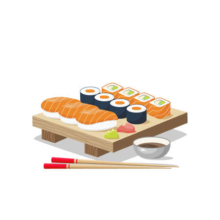 Icon set of sushi menu. Asia cuisine restaurant delicious. On the board are sushi rolls, wasabi, ginger, chopsticks and soy sauce. Vector illustration