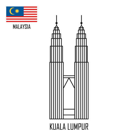 Hito de Malasia. Torres en Kuala Lumpur y bandera de Malasia. Ilustración de vector.