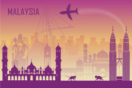 Travel background with landmarks of Malaysia. Web advertising banner. Infographic with symbols. Travel and Tourist Attraction. Malaysia INDEPENDENCE DAY. Vector illustration Foto de archivo - 127321013