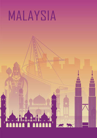 Travel background with landmarks of Malaysia. Web advertising banner. Infographic with symbols. Travel and Tourist Attraction. Malaysia INDEPENDENCE DAY. Vector illustration