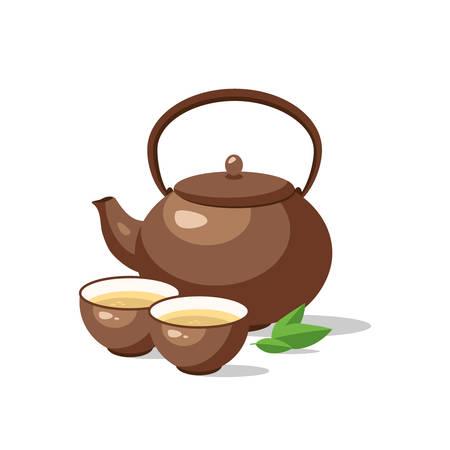Japanese, chinese tea ceremony set. Ceramic teapot and cup bowls of green tea isolated. Vector illustration. Illusztráció