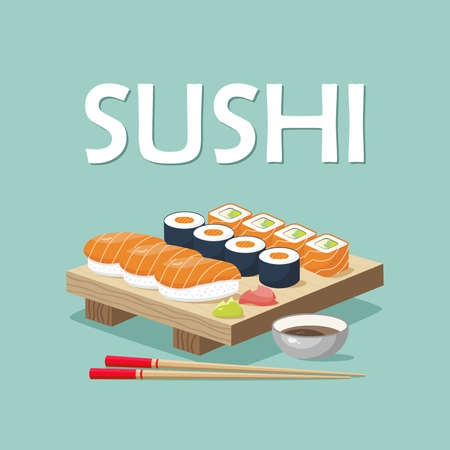 Icon set of sushi menu. Asia cuisine restaurant delicious. On the board are sushi rolls, wasabi, ginger, chopsticks and soy sauce. Vector illustration Foto de archivo - 126854360