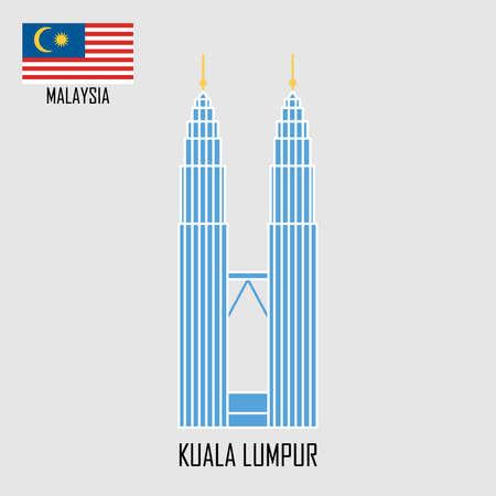 Point de repère de la Malaisie. Tours à Kuala Lumpur et drapeau malais. Illustration vectorielle. Vecteurs