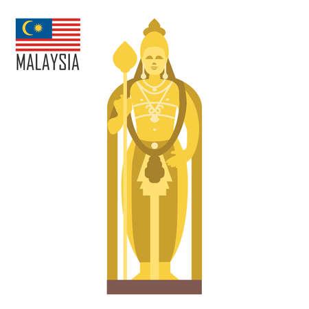Buddha golden statue in Malaysia, Kuala Lumpur Ilustrace