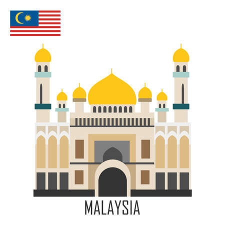Landmark of Brunei, Malaysia. The grand mosque and Malaysian flag. Vector illustration. Foto de archivo - 131568640