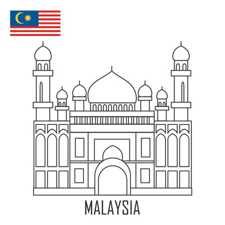 Landmark of Brunei, Malaysia. The mosque and Malaysian flag. Vector illustration.