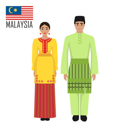 Malasian young man and woman in national costume. Malaysia couple wearing traditional costumes. Vector illustration