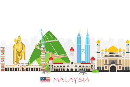 Travel background with landmarks of Malaysia. Web advertising banner. Infographic with symbols. Travel and Tourist Attraction. Malaysia INDEPENDENCE DAY. Vector illustration Foto de archivo - 126854371
