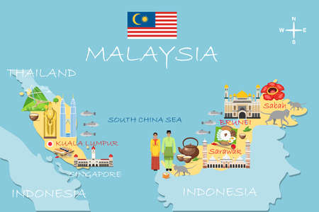 Stylized map of Malaysia. Travel illustration with malaysian landmarks, architecture, national flag, and other symbols in flat style. Infographic. Travel and Tourist Attraction. Vector illustration