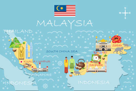 Stylized map of Malaysia. Travel illustration with malaysian landmarks, architecture, national flag, and other symbols in flat style. Infographic. Travel and Tourist Attraction. Vector illustration Foto de archivo - 126824011