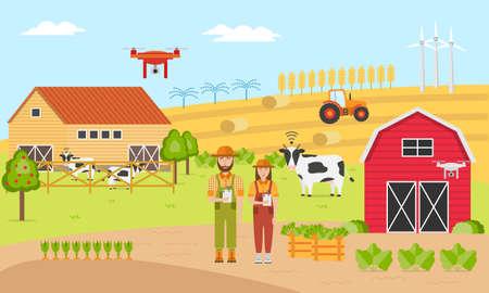 Dos agricultores con agricultura inteligente. Sistemas de información de gestión agrícola. Automatización agrícola y robótica con tecnologías modernas Control GPS, Datos agrícolas, Drones topográficos, Ganadería, Agribots.