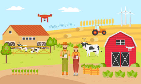Two farmers with Smart farming. Farm Management Information Systems. Agricultural automation and robotics with modern technologies GPS Control, Farming Data, Survey Drones, Livestock, Agribots . 向量圖像