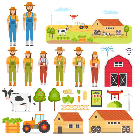 Set of happy farmers and smart Farming elements. Agricultural automation and robotics with modern technologies GPS Control, Farming Data, Survey Drones, Livestock, Agribots . Vector illustration.