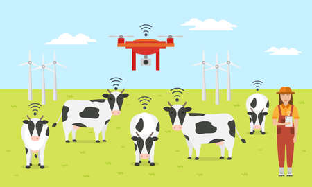 Woman farmer with tablet on a modern dairy farm. Smart farming. Robot shepherd. Internet of things in cattle grazing. Vector illustration. Vectores
