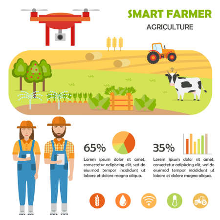 Smart farmer infographics. Farm Data analysis and management Illusztráció