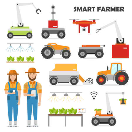 Agriculture automation smart farming icons set