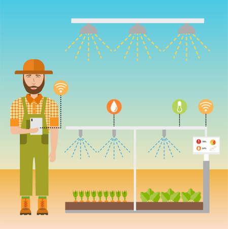 Smart farm flat background. Agricultural automation and robotics with modern technologies, wireless control. Vector illustration. Illusztráció