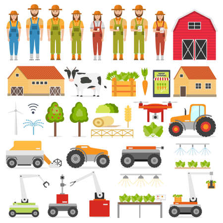 Agriculture automation smart farming icons set with isolated images of farmer and robots. Vector illustration