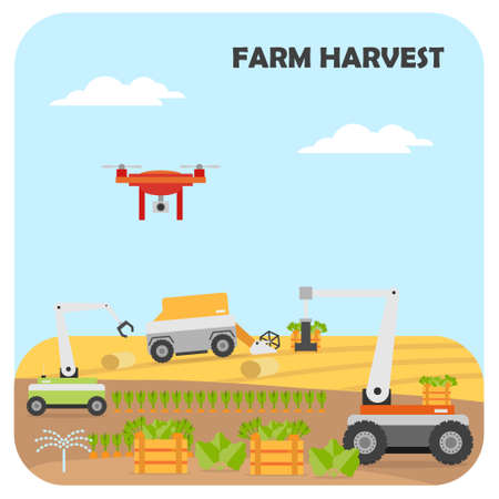 Smart farming harvest. Agricultural automation and robotics with modern technologies, wireless control. Vector illustration.