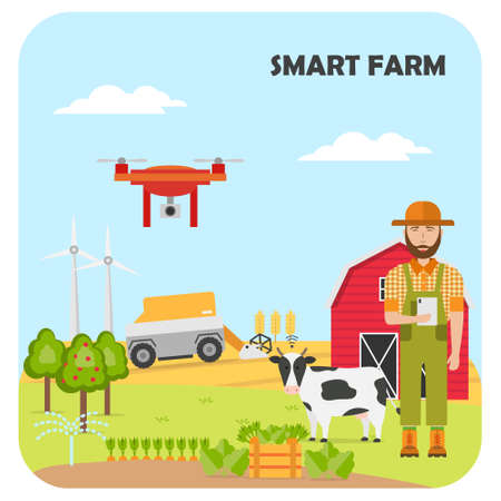 Woman farmer with tablet on a modern dairy farm. Smart farming mobile application