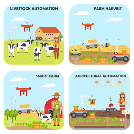 Set of Smart farm backgrounds. Agricultural and livestock automation